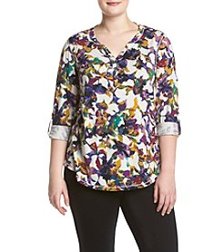 Relativity® Plus Size Orchid Bloom Henley