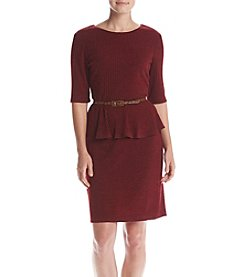 Connected® Peplum Belted Sweater Dress