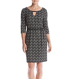 Connected® Belted Plaid Dress