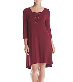 Nina Leonard® Lace Up Swing Dress