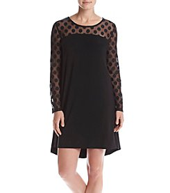 Nina Leonard® Swiss Dot Swing Dress