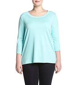 Studio Works® Plus Size Heatset Crew Neck Pullover Top