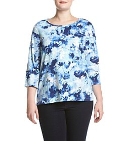 Studio Works® Plus Size Crew Neck Printed Pullover Top