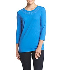 Studio Works® Petites' Heatset Crew Neck Pullover Top