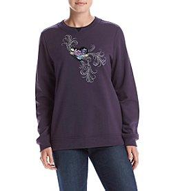 Breckenridge® Heart Flowers Fleece Sweatshirt