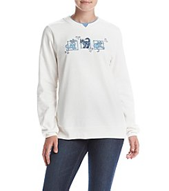 Breckenridge® Denim Cat Patches Fleece Sweatshirt