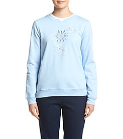 Breckenridge® Petites' Snowflake Fleece Sweatshirt