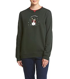 Breckenridge® Petites' Crafty Snowman Fleece Sweatshirt