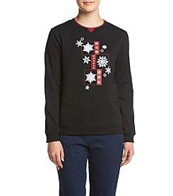 Breckenridge® Petites' Glittering Snowflake Fleece Sweatshirt