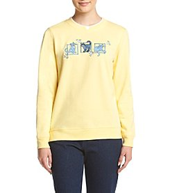 Breckenridge® Petites' Denim Cat Patches Fleece Sweatshirt