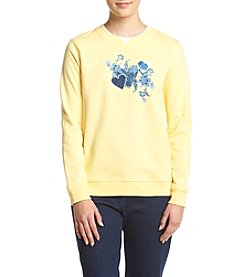 Breckenridge® Petites' Floral Denim Hearts Fleece Sweatshirt