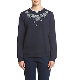 Breckenridge® Petites' Daisy Necklace Fleece Sweatshirt