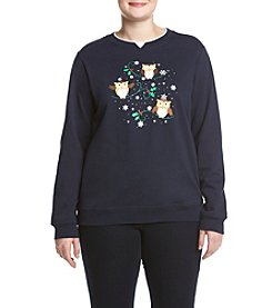 Breckenridge® Plus Size Jolly Owls Fleece Sweatshirt