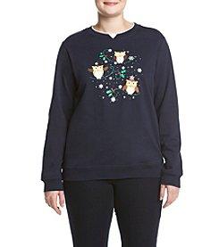 Breckenridge® Plus Size Jolly Owls Fleece Sweatshirt