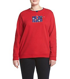 Breckenridge® Plus Size Americana Birdhouses Fleece Sweatshirt