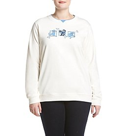 Breckenridge® Plus Size Denim Cat Patches Fleece Sweatshirt
