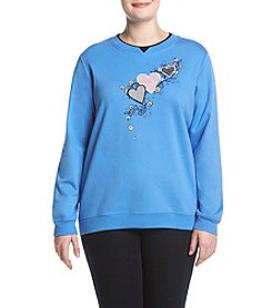 Breckenridge® Plus Size Gingham Heart Fleece Sweatshirt