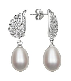.925 Sterling Silver Freshwater Pearl Drop with Cubic Zirconia Angel Wings Earrings