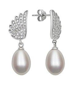.925 Sterling Silver Freshwater Pearl Drop with Cubic Zirconia Angel Wings Earrings