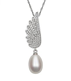 .925 Sterling Silver Freshwater Pearl Drop with Cubic Zirconia Angel Wing Pendant Necklace