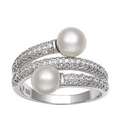 .925 Sterling Silver Freshwater Pearl Drop with Cubic Zirconia Ring