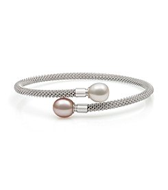 .925 Sterling Silver Cultured Freshwater Pearl Flex Bangle Bracelet