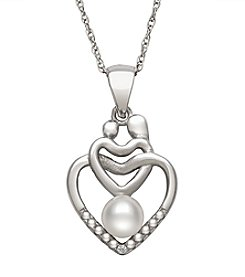 .925 Sterling Silver Cultured Freshwater Pearl Mom & Child Heart Pendant Necklace