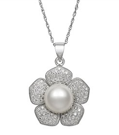 .925 Sterling Silver Cultured Freshwater Pearl Flower Shape Pendant Necklace