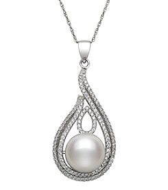 .925 Sterling Silver Cultured Freshwater Pearl Drop Pendant Necklace