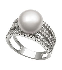 .925 Sterling Silver Cultured Freshwater Pearl & Cubic Zirconia Ring