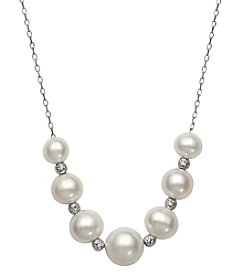 .925 Sterling Silver and Cultured Freshwater Pearl Chain Necklace