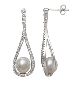 .925 Sterling Silver Cultured Freshwater Pearl & Cubic Zirconia Earrings