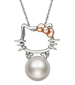 .925 Sterling Silver Cultured Freshwater Pearl Kitty Pendant Necklace