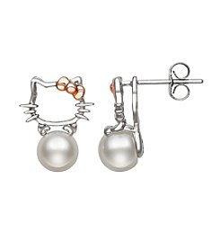 .925 Sterling Silver Cultured Freshwater Pearl Kitty Earrings