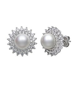 .925 Sterling Silver Cultured Freshwater Pearl & Cubic Zirconia Earrings