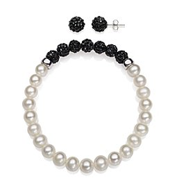 .925 Sterling Silver Cultured Freshwater Pearl Crystal Bead Stretch Bracelet and Earrings Set