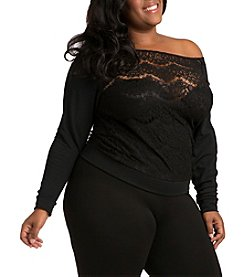 Poetic Justice Nia Plus Size Lace and Ponte Sleeve Top