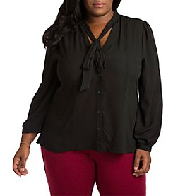 Poetic Justice Tasha Plus Size Tie Collar Top
