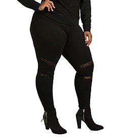 Poetic Justice Janet Plus Size Curvy Women's Leggings with Ponte and Lace