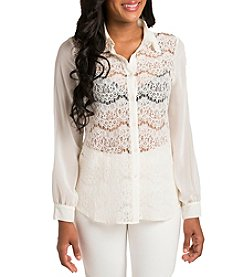 Standard & Practices Coco Long Sleeve Lace Button-front Blouse