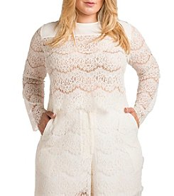 Standard & Practices Plus Size Sydney Long Sleeve Lace Top