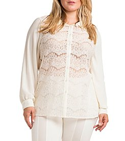 StStandard & Practices Coco Plus Size Long Sleeve Lace Button-Front Blouse