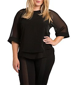 Standard & Practices Milla Plus Size Three-Quarter Sleeve Peachskin Top
