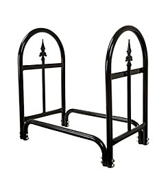 Pure Garden Black Fireplace Log Rack with Finial Design