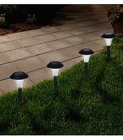 Pure Garden Set of 8 Solar Powered Black Accent Lights