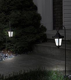 Pure Garden Black Set of 2 Solar LED Hanging Coach Lanterns
