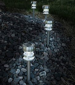 Pure Garden Set of 4 Stainless Steel Solar Powered LED Path Lights