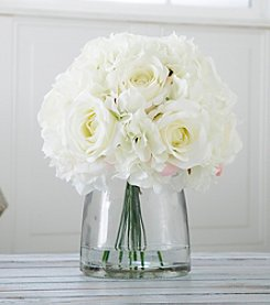 Pure Garden Hydrangea and Rose Floral Arrangement with Vase