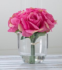 Pure Garden Rose Floral Arrangement with Glass Vase