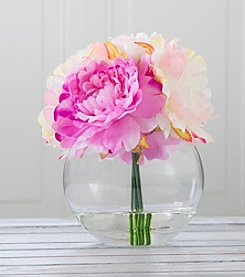 Pure Garden Peony Floral Arrangement with Glass Vase